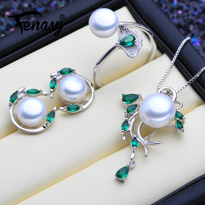 FENASY 925 Sterling Silver Emerald Pearl Jewelry Sets Natural Stud Earrings Bohemian Pendant Necklace Women Green Stones RingFENASY 925 Sterling Silver Emerald Pearl Jewelry Sets Natural Stud Earrings Bohemian Pendant Necklace Women Green Stones Ring