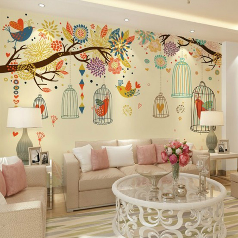 Customized large mural 3D wallpaper 3D wallpaper backdrop of modern minimalist bedroom bedside woods bird cage painted Korean custom baby wallpaper snow white and the seven dwarfs bedroom for the children s room mural backdrop stereoscopic 3d