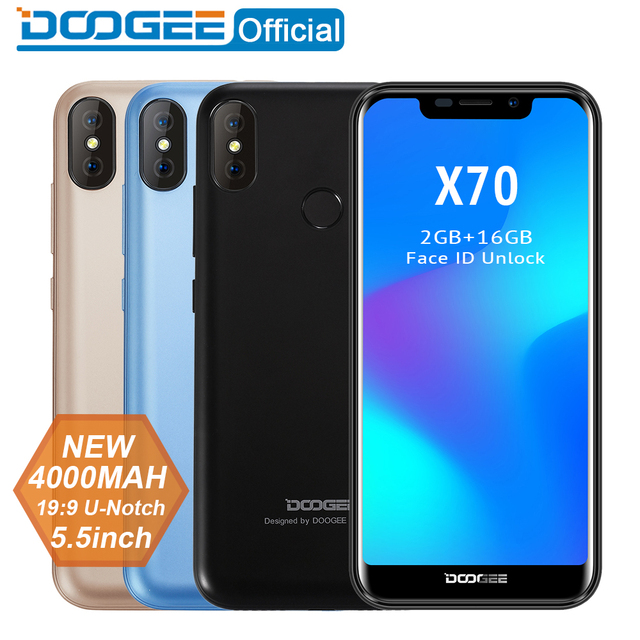 2018 New DOOGEE X70 Smartphone Face 5.5'' U-Notch 19:9 MTK6580 Quad Core 2GB RAM 16GB ROM Dual Camera 8.0MP Android 8.1 4000mAh