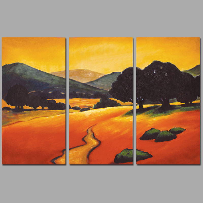Yellow Orange landscape Mountain Trees Graffiti decoration 3pcs wall art picture poster Canvas Painting for living room unframed