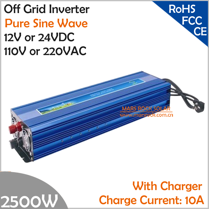 2500W Off Grid Inverter with charger, Surge Power 5000W DC12V/24V AC110V/220V Pure Sine Wave Power Inverter with charge function