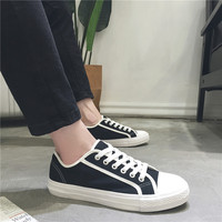 Fashion White Blue Canvas Shoes Lace Up Breathable New 2019 Men's Flats Red Sneakers For Mens Casual Shoes Walking Footwear