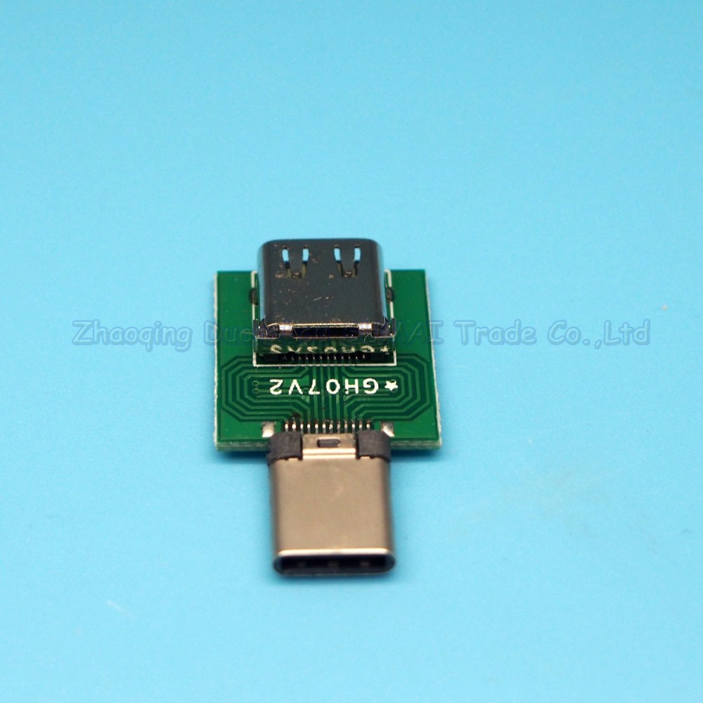 5pcs/lot USB 3.1 TYPE C male to female Connector socket with PCB board