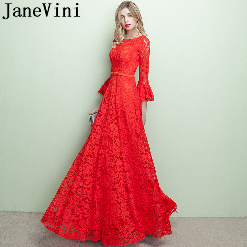 JaneVini Vestidos Red Lace Mother of Bride Dresses A Line 3/4 Long Sleeves Floor Length Vintage Evening Dress Vestido De Novia