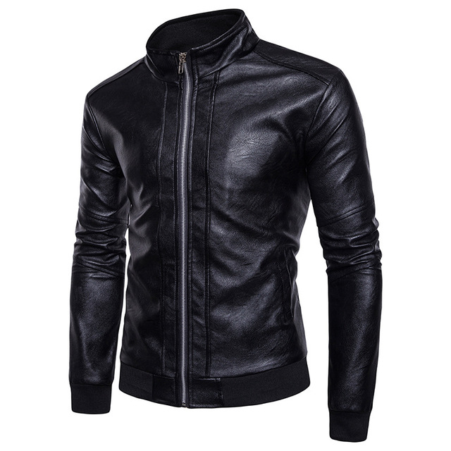 FFXZSJ  Leather Jacket Men 2017 Fashion Stand Collar Rib-knit Cuff Design PU Leather Jacket Casual Pocket Veste Cuir Homme