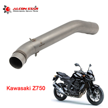 Alconstar- Z750 Motorcycle Motorbike Middle Pipe Exhaust Muffler Mid Connect Refit For Kawasaki Z750 2007-2012 without exhaust