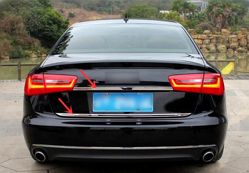 For 4-Door Sedan! For Audi A6 C7 2012-2017 Stainless Steel Rear Door Gate Trim+Rear Trunk Lid Molding Decoration Cover Trim 2pcs car auto accessories rear trunk molding lid cover trim rear trunk trim for nissan sunny versa 2011 abs chrome 1pc per set