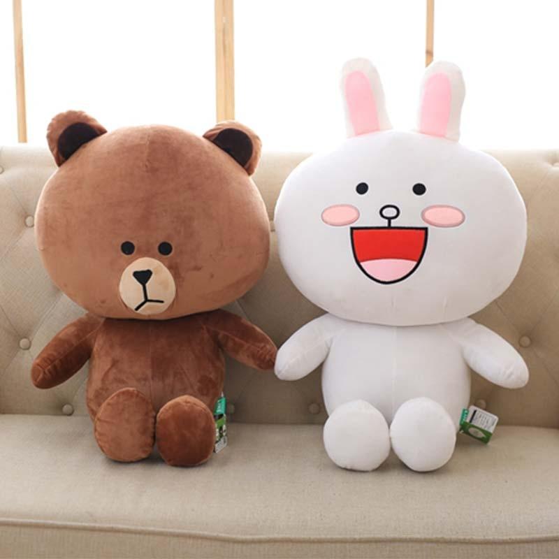 1pc 40/50/70cm 2 Patterns Plush Stuffed Bear Doll Bunny Pillows Cute Filled Animal Brinquedos Korean Classic Anime Toy Xmas Gift