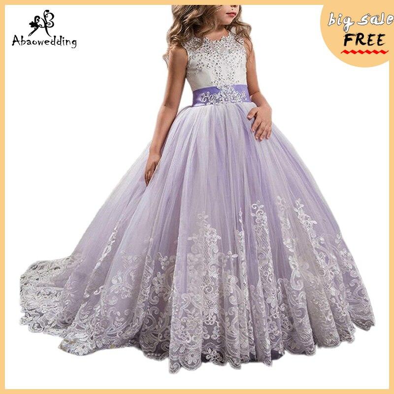 Robes de fille de fleur avec noeud perlée robe à lacets en cristal Applique robe de bal première Communion pour les filles Vestidos personnalisés Longo