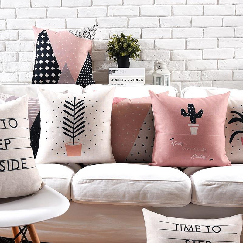 Nordic Minimalist Decor Cactus Cushion Pink Pot Plant Geometric Deer Line Text Pillow Sofa Scandinavian Style For Creative Gift