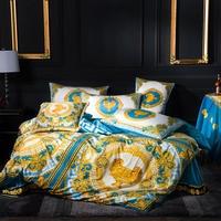 FAMVOTAR Luxury Bedding Set Chic Golden Crown/King Lion Embroidery Duvet Cover Bed Set Flat Bed Sheet King Queen Size 4 Pcs Set