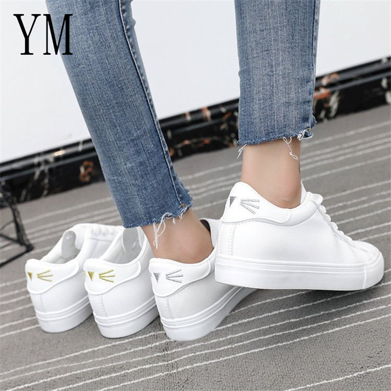 New Fashion Women Sneakers Breathble Vulcanized Shoes Women Pu leather Platform Shoes Lace up Casual Shoes Small White sneaker sportive women flower pattern embroidered white pu leather shoes lace up sneaker