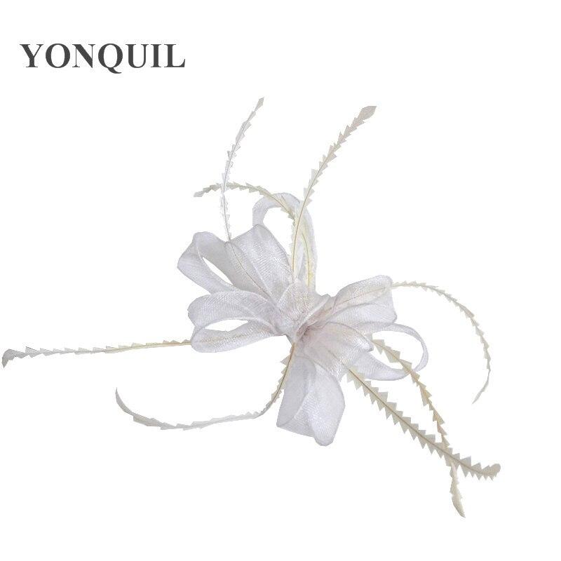 Элегантные головные уборы sinamay, Свадебные шляпы для невесты, высококачественные Коктейльные головные уборы, вечерние головные уборы, несколько цветов - Цвет: Белый