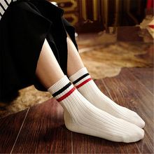 Women's fashion trend cotton tube socks Japanese Harajuku style two bar stripes casual college wind girls wild breathable socks