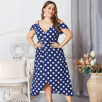 CUERLY Plus size dot polka dot print women dress Elegant cold shoulder spaghetti strap female midi dress V neck vintage dress