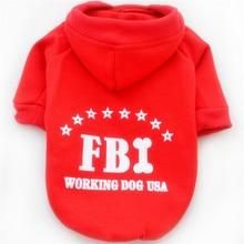 Autumn Hoodies Pet Dog Clothes FBI Print Pet Sweatshirt Warm Coat For Small Medium Dog S To XXL