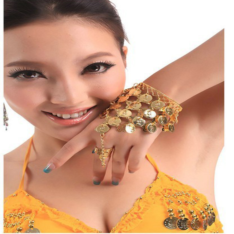 2016 Wholesale High Quality Belly Dance Arm Wrist Indian Bracelet With Ring Finger Belly Dance Hand Chains For Women