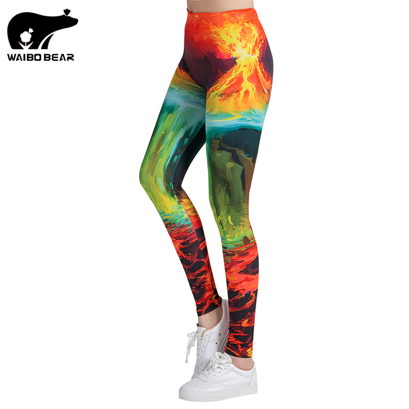 Sexy Leggings Women Fitness Leggings Silm Legins High Waist Stretch Trouser Female Colorful Printed Pencil Yuga Pants WAIBO BEAR