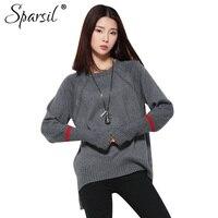 Sparsil Women Autumn O-Neck Cashmere Blend Sweater Lady Loose Style Irregular Hem Design Pullover