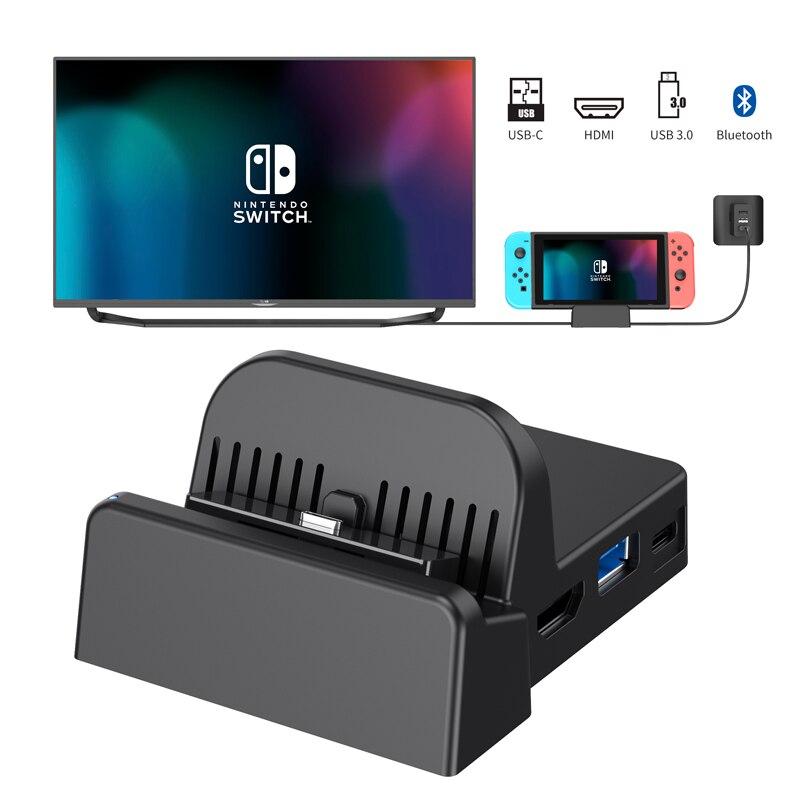 Dealonow station d'accueil de convertisseur de TV Portable pour commutateur Nintendos avec haut-parleur de connexion sans fil Bluetooth et écouteurs