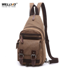 Chest Bag Men Casual Canvas Messenger Bags Mens Vintage Crossbody Bag Male Multifunction Small Travel Bag Back Pack XA158WC