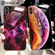 TOMKAS Luxury Space Cover Case for iPhone X XS MAX XR XS Glass Silicone Phone Case for iPhone 7 8 Plus Cases for iPhone 6 S 6s(China)