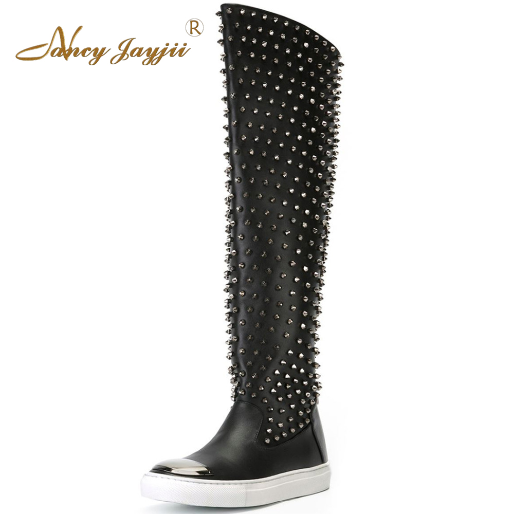 Nancyjayjii Casual Rivets Flat Heels Knee High Boots Winter Snow Black Pleather Round Toe Women Shoes zapatos botas mujer