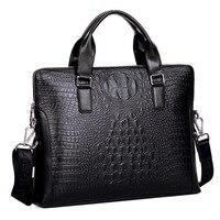 Men S Business Bag Crocodile Pattern PU Leather Messenger Bag Male Casual Shoulder Bag Men S