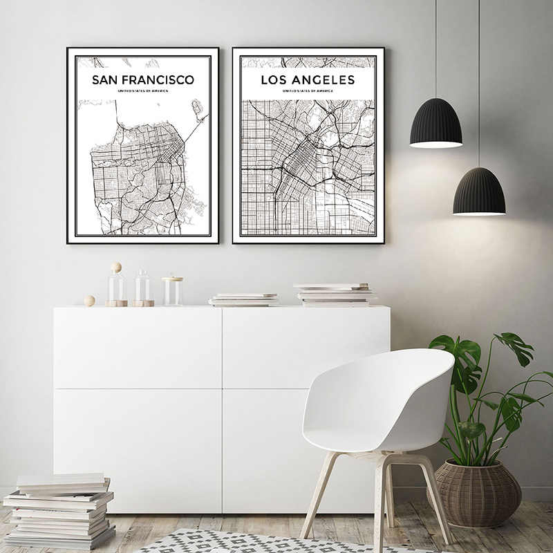 Canvas Printed Home Decor Painting Wall Art Modular New York London Paris Modern Nordic City Map Poster Pictures For Living Room