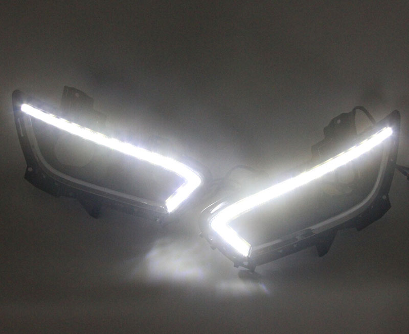 2pcs Car LED DRL daytime running light for Ford Fusion/Mondeo 2013 2014 2015 DRL fog lamp yellow turning emark waterproof 12 LED for mondeo 2013 2016 led drl driving daytime running day light waterproof fog lamp light cover car accesories
