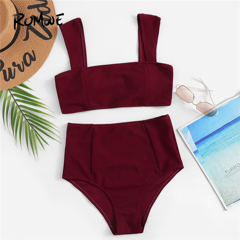 Romwe Sport Burgundy Wide Straps Top With High Waist Bottoms Bikini Set Women Summer Wire Free Square Neck Two-Pieces Suits
