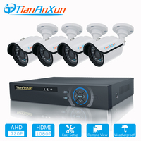 TIANANXUN 4CH CCTV System HDMI DVR 4PCS 720P AHD Camera Outdoor Night Vision 1 0 MP