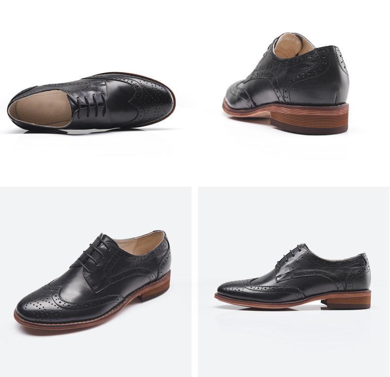 Brogue echt leer vrouwen schoenen mode toevallige carrière werk jurk schoenen vrouw oxford carving lace up platte schoenen maat 34 42 - 6