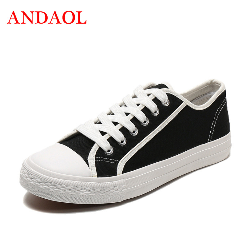 ANDAOL Mens Canvas Shoes Summer Fashionable Youth Sneakers Breathable Walking Casual Tenis Feminino Student Lace Up Flats