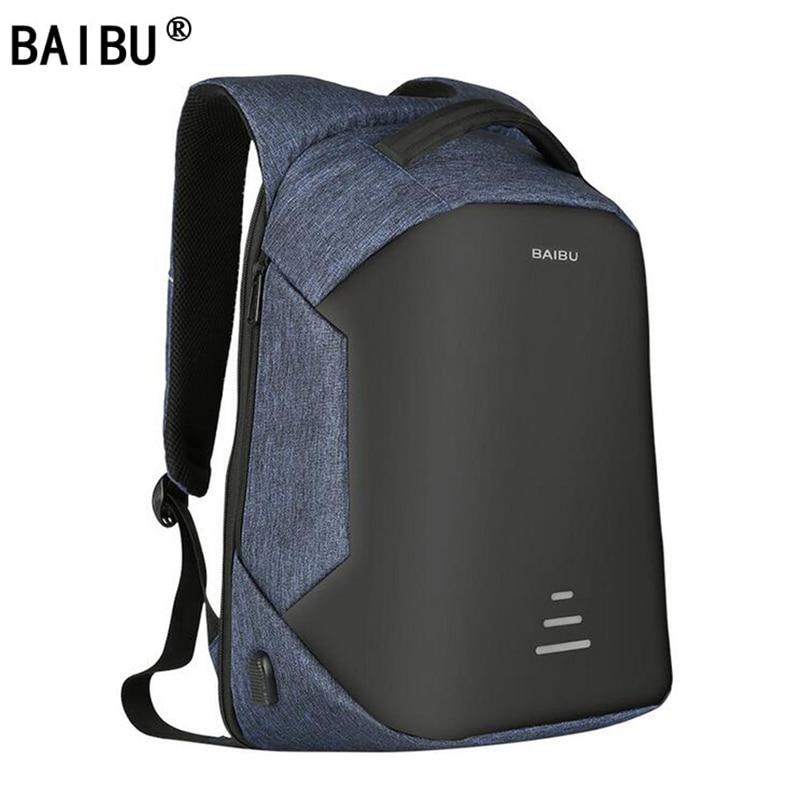 BAIBU New Backpacks Men USB Charge Laptop Anti Theft Backpack Fashion Design Backpack Casual Mochila Casual Travel Bag For Male