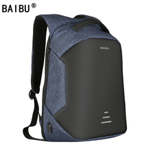 Baibu新バックパック男性のusb充電ノートパソコンの盗難防止リュックファッションデザインのバックmochilaカジュアル旅行男性