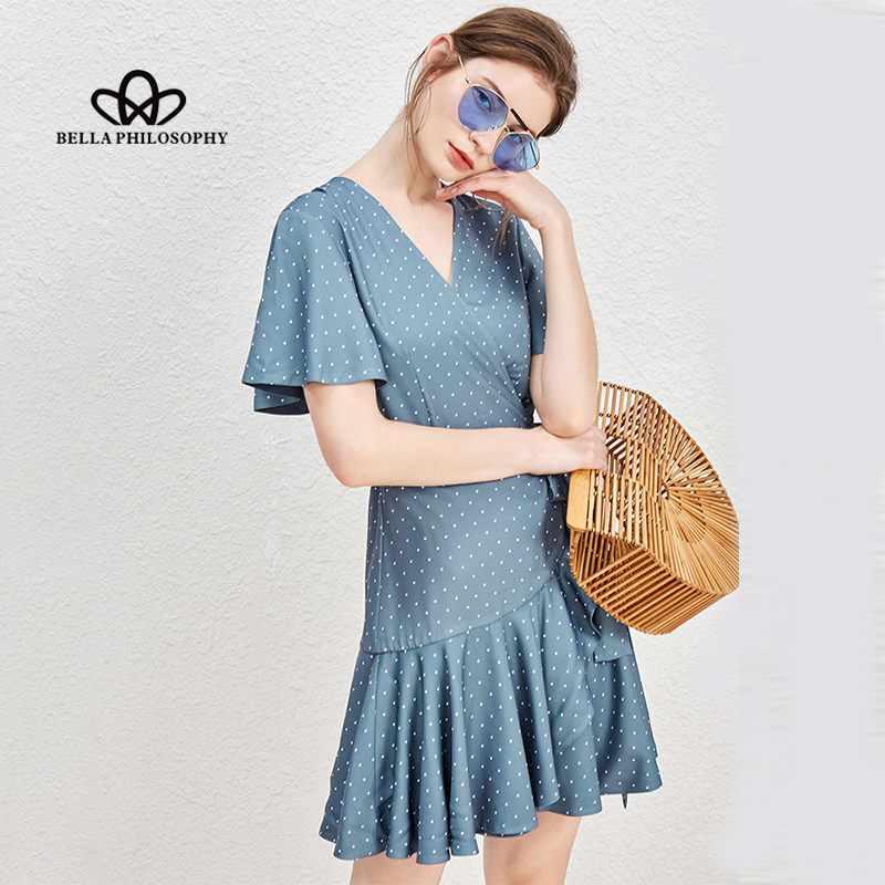 Bella Philosophy Retro Vintage blue Dot Dress Summer Ruffle Wrap Dress Ladies Vestidos party Dresses festa drapped female