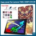 Tab 2 A10 30 красочные печати кожаный чехол для lenovo tab 2 a10-30 X30F X30L tablet 10.1 дюймов Магнит случае
