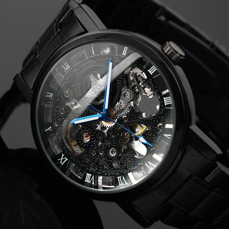 2016 Nuevo reloj de pulsera de esqueleto de hombre negro de acero inoxidable antiguo Steampunk Casual esqueleto mecánico relojes masculinos