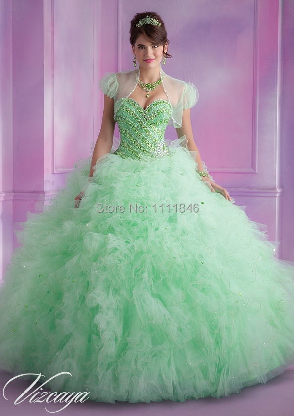 Aliexpress.com : Buy Exquisite Mint Green Quinceanera Dress 2015 ...