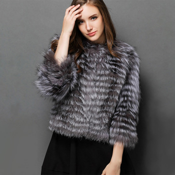 EMS SHIPPING*2015 NEW ARRIVAL, 100% NATURAL SILVER FOX FUR COAT/ REAL SILVER FOX FUR JACKET STRIPES SHORT DESIGN NO.SU-1525 1