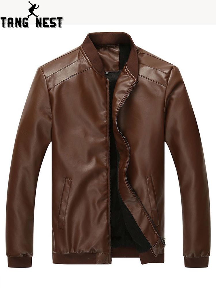 TANGNEST Hot Sale Autumn Jacket Men Solid Color PU Leather Jacket Asian Size M-3XL New Design Male Stand Collar Jackets MWJ1829