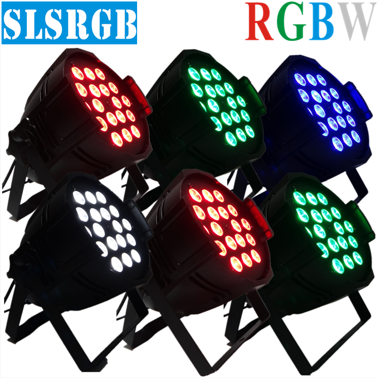 6pcs/lot Par 64 LED Par Light 18*12w LED LAMP RGBAW LED Par Can DMX 8Chls for DJ Party Stage Lighting Sound Party Equipment