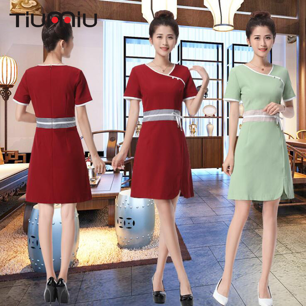 2018 New Arrival Hotel Uniform Lab Dress Women Short Sleeved Medical Uniform Attire Beauty Salon SPA Fashion Workwear Clothing