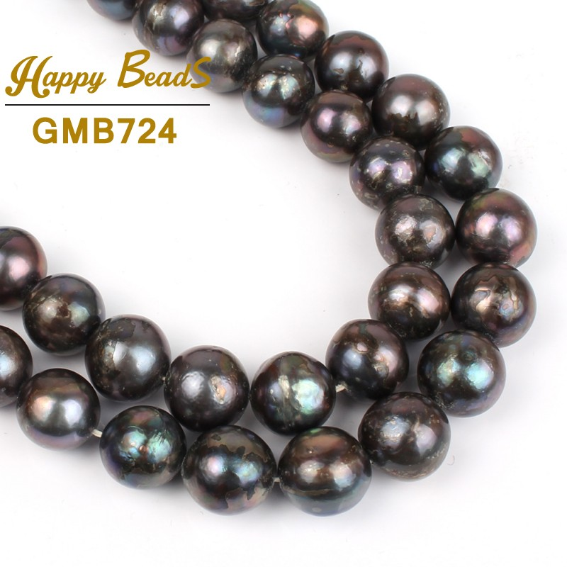 12mm Black Freshwater Pearl Natural Stone Beads For Bracelets Necklace DIY Jewelry Making Loose Strand 15 Wholesale F01336 high quality nature aquamarin loose beads for women jewelry diy making for necklace an bracelets