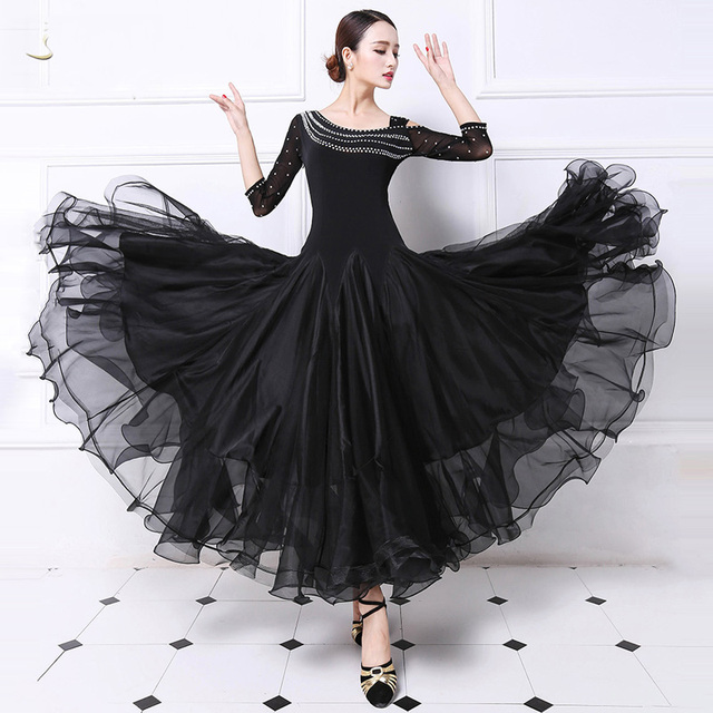 37090add59de Ballroom Competition Dance Dress Women Tango Flamenco Dancing Costume New  High Qualiy Black Middle Sleeve Waltz Ballroom Dresses