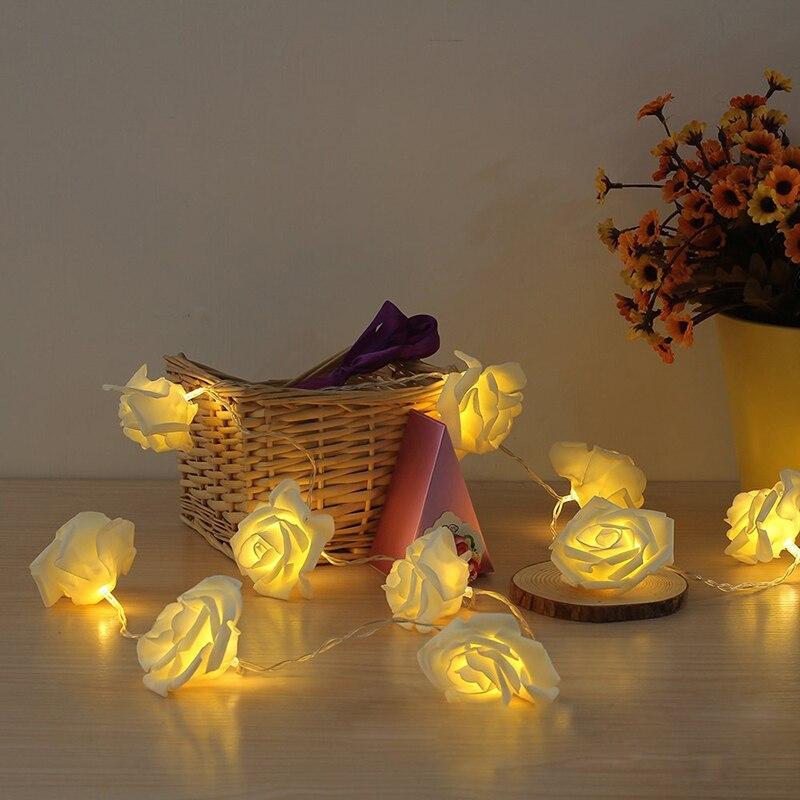 2.5M/5M 40LED Rose LED String Lights Battery Wedding Birthday Decoration Lightings Rosa LED Guirlande Lumineuse