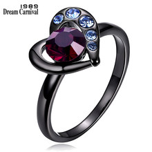 DreamCarnival 1989 Solitaire Heart Rings for Women Bridal Wedding Jewelry Blue Burgundy Red Crystal Anel Valentine's Gift Anills(China)