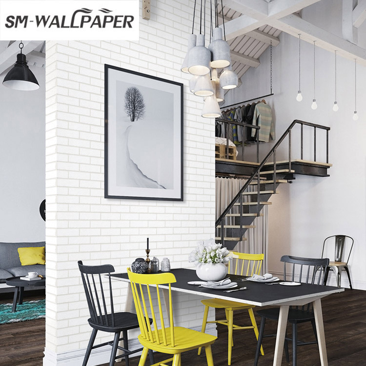 Modern 3D Brick White PVC Thick Embossed Wall Covering Wall Paper Roll Background Walls Living Room Bedroom Wallpaper 10M color brick stone 3d pvc embossed wallpaper modern bedroom living room tv background home decor wall paper wall covering rolls