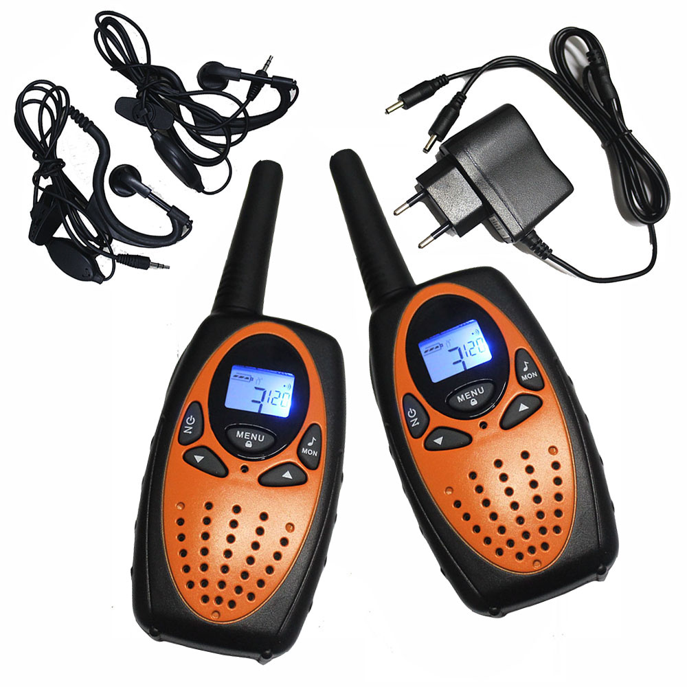 2PCS TS628 1w Long Range Portable PMR446 Handheld Walkie Talkies 2 Way Mobile Radios Transceiver Orange W/ Charger Earphones